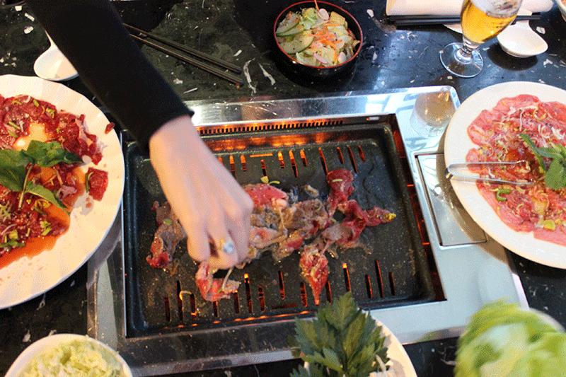 La noix d'entrecôte de bœuf du Coréen Barbecue
